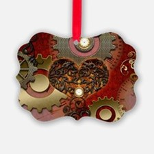 Steampunk, heart with floral elements Ornament