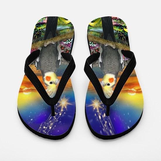 Designer Flip Flops By Robbiescreations~cockatiel