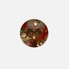 Steampunk, heart with floral elements Mini Button