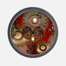 Steampunk, heart with floral elements Wall Clock