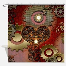 Steampunk, heart with floral elements Shower Curta