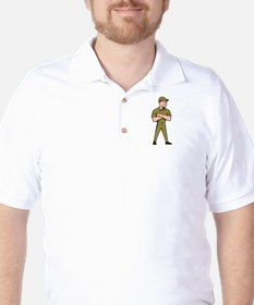 Tradesman Arms Crossed Isolated Cartoon T-Shirt