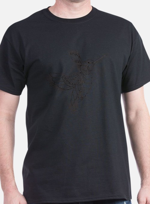 Steampunk Hummingbird Outline T-Shirt
