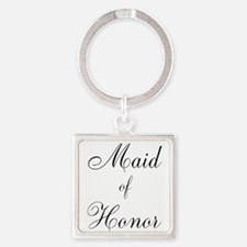 Maid of Honor Black Script Keychains