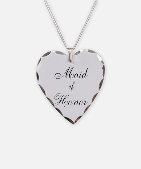 Maid of Honor Black Script Necklace
