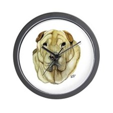 Cute Sharpei art Wall Clock
