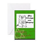 PIGGY WENT SHOPPING HAPPY HANUKKAH Greeting Card