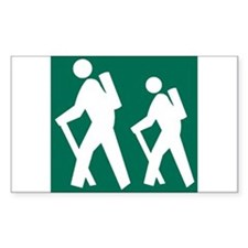 Hiking Sign Rectangle Decal