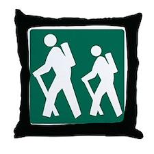 Hiking Sign Throw Pillow