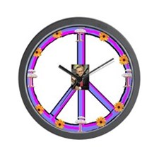 """Atomic Daisy Death Peace Symbol"" Wall Clock"