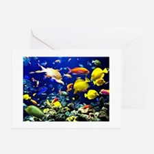 Colorful Aquatic Ocean Life Greeting Cards
