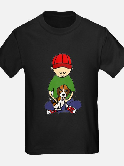 Boy Hugging Dog T-Shirt