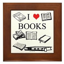 I (heart) Books Framed Tile