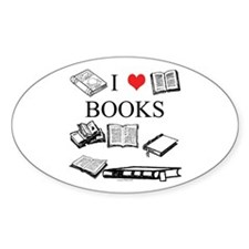 I (heart) Books Oval Decal
