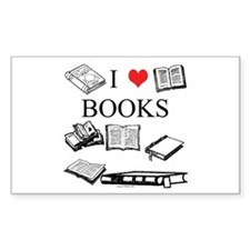 I (heart) Books Rectangle Decal
