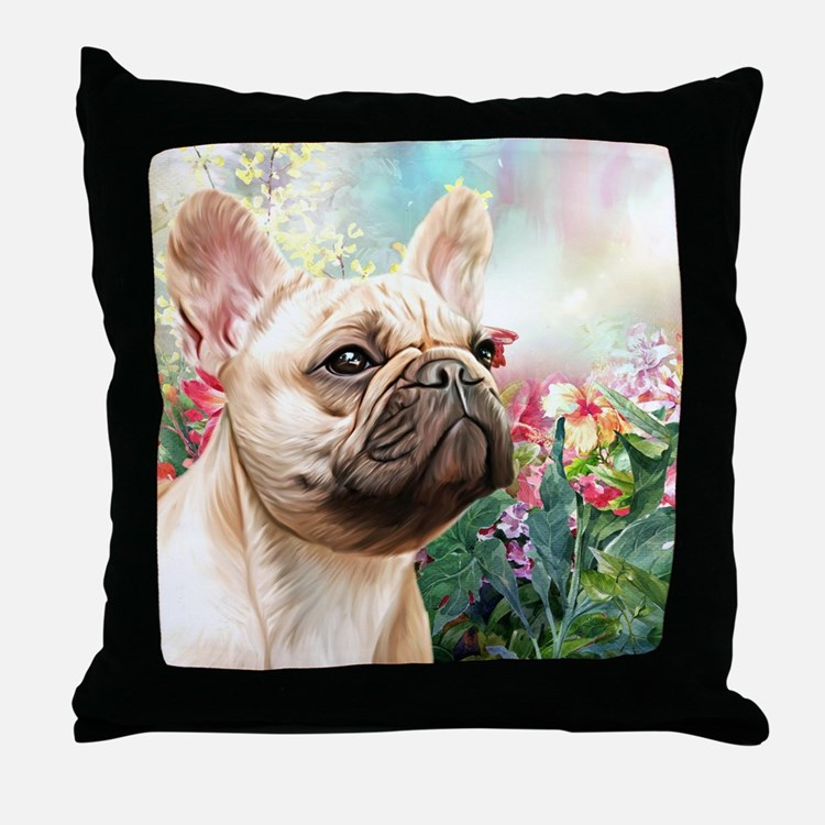 French Bulldog Painting Throw Pillow