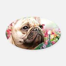 French Bulldog Painting Oval Car Magnet