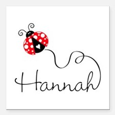 "Ladybug Hannah Square Car Magnet 3"" X 3"""