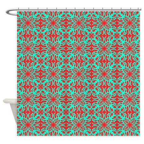 teal striped shower curtain. Red Amp Teal Floral Shower Curtain By Admin CP59133934 90  And Stripes