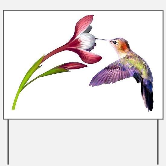 Hummingbird in flight Yard Sign