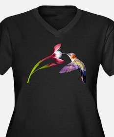 Hummingbird in flight Women's Plus Size V-Neck Dar