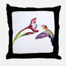 Hummingbird in flight Throw Pillow
