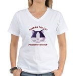 Women's V-Neck T-Shirt - Featuring Dharma The Cat
