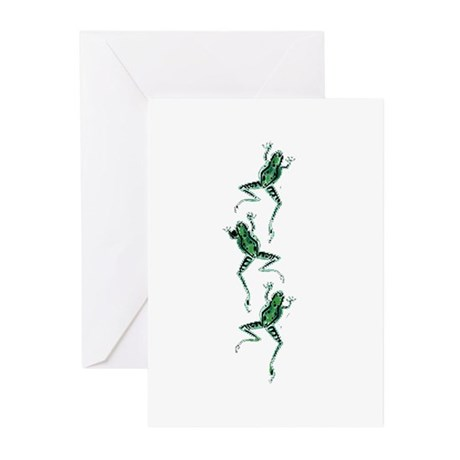 Three Frogs Jumping Greeting Cards (Pk of 10)