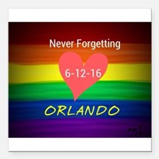 "Orlando never forgetting Square Car Magnet 3"" x 3"""