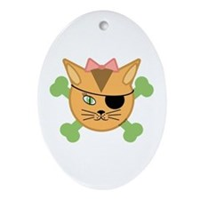 Carleigh's Pirate Kitty Oval Ornament