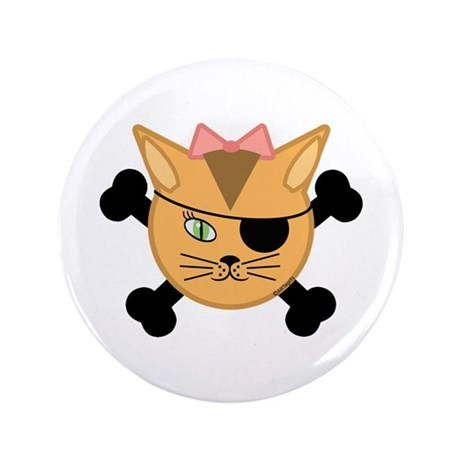 """Carleigh's Pirate Kitty 3.5"""" Button (100 pack)"""