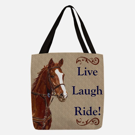 Live! Laugh! Ride! Horse Polyester Tote Bag