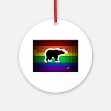 gay rainbow bears art Round Ornament