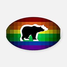 gay rainbow bears art Oval Car Magnet