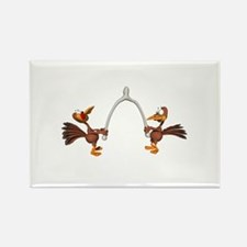 Turkeys Making Wish (Wishbone) Rectangle Magnet
