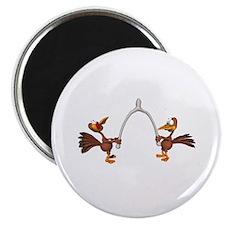 """Turkeys Making Wish (Wishbone) 2.25"""" Magnet (100 p"""
