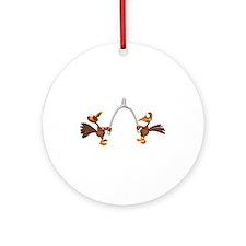 Turkeys Making Wish (Wishbone) Ornament (Round)