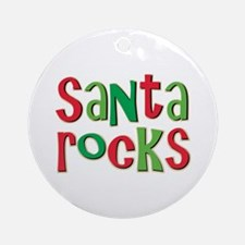 Santa Rocks Christmas Holiday Ornament (Round)