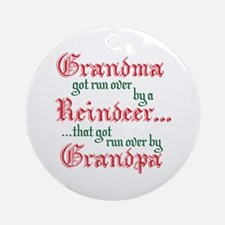 Grandma Run Over Reindeer Ornament (Round)