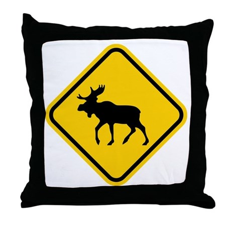 Moose Crossing Throw Pillow