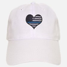 Thin Blue Line Heart Baseball Baseball Cap