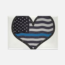 Thin Blue Line Heart Magnets