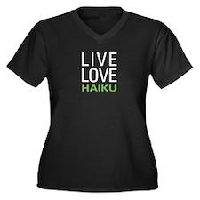 Live Love Haiku Women's Plus Size V-Neck Dark T-Sh