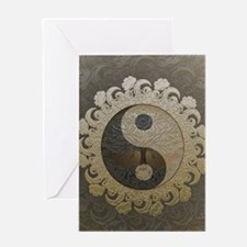 Yin Yang in tan colors with tree of Greeting Cards