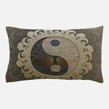 Yin Yang in tan colors with tree of li Pillow Case