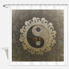 Yin Yang in tan colors with tree of Shower Curtain