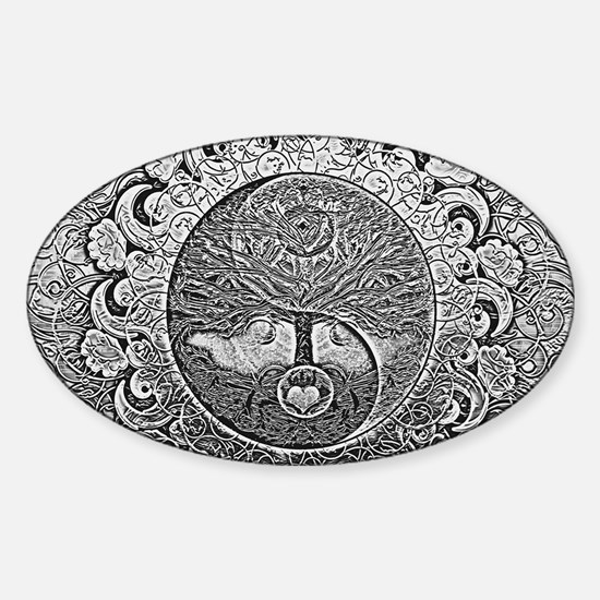 Shiny Metallic Tree of Life Yin Yang Decal
