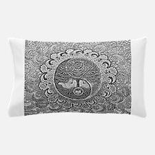Shiny Metallic Tree of Life Yin Yang Pillow Case