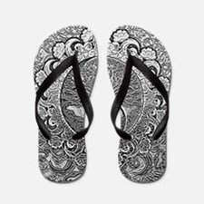 Shiny Metallic Tree of Life Yin Yang Flip Flops