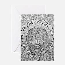 Shiny Metallic Tree of Life Yin Yan Greeting Cards
